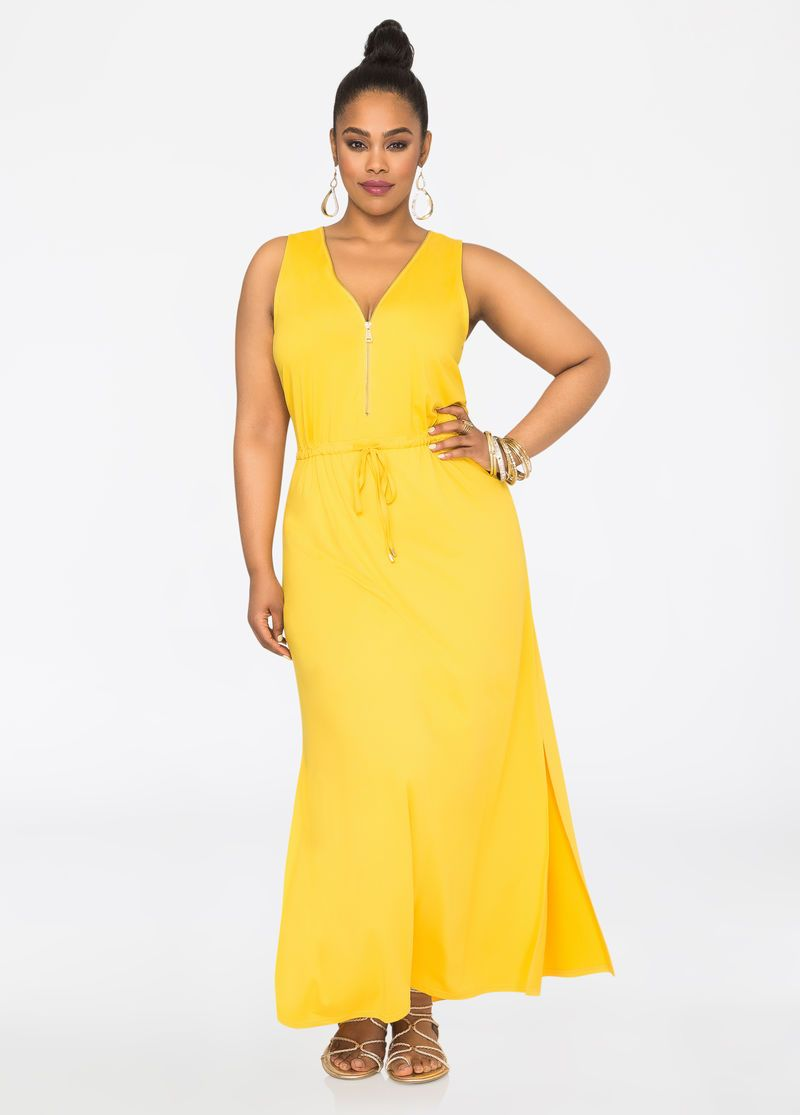 Zip V-Neck Maxi Dress Zip V-Neck Maxi Dress | Ashley Steward ...