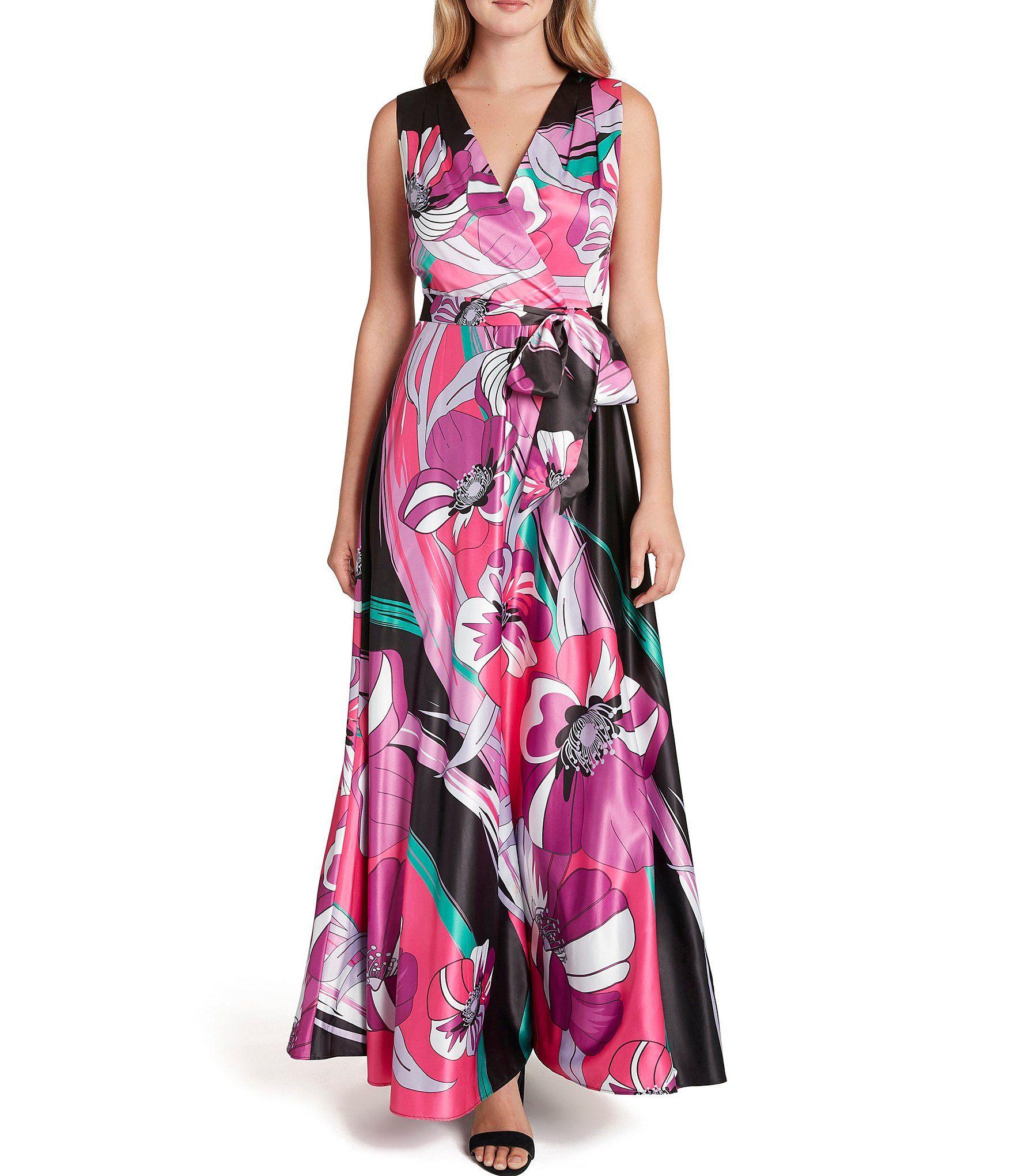 Tahari Asl Floral Print V Neck Tie Waist Charmeuse Maxi Dress Dillard S Maxi Dress Satin Maxi Dress Floral Maxi Dress [ 2040 x 1760 Pixel ]