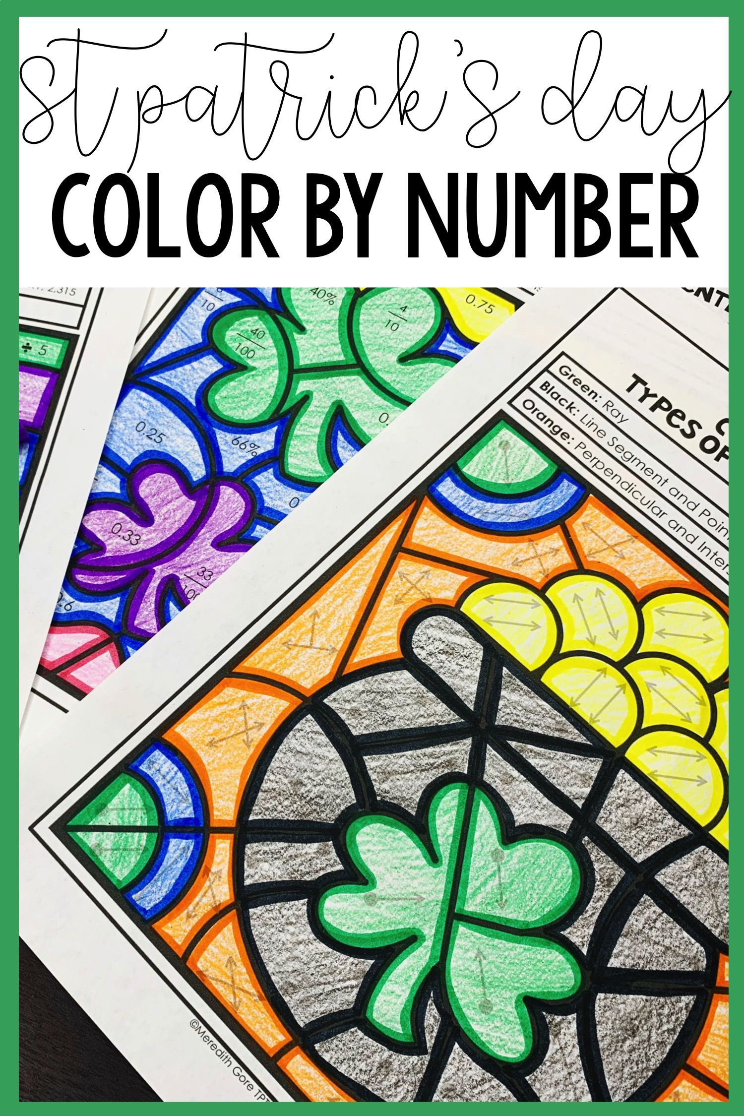 St Patrick S Day Math Color By Number Bundle