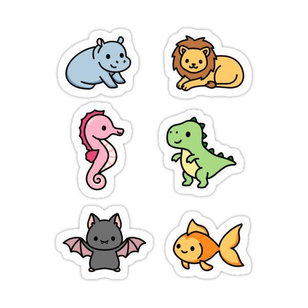 Cute Animal Sticker Pack 8 Sticker By Littlemandyart In 2021 Animal Stickers Cute Stickers Print Stickers