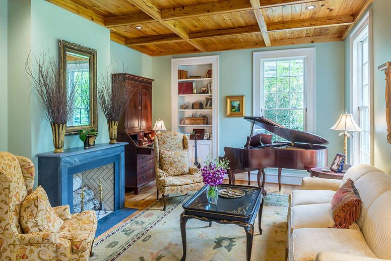 Music Room Fireplace Wooden Coffered Ceiling Pecky Cyprus Piano