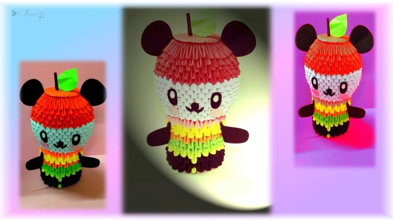 How to make 3d origami panda apple YouTube 3d