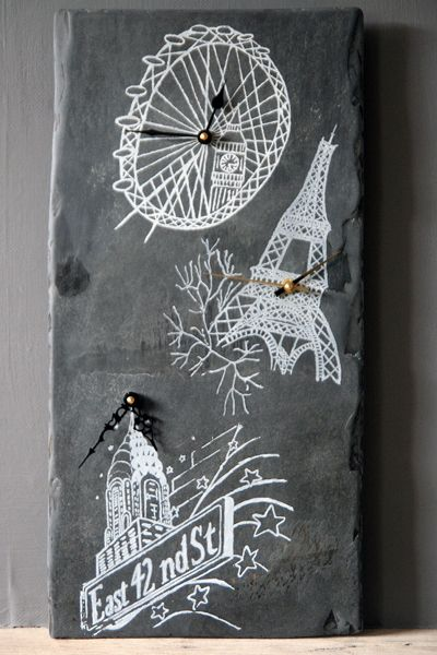London, Paris, New York Time Reclaimed Slate Clock £95