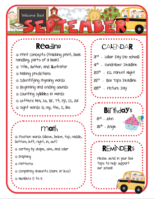 Mrs. Ricca's Kindergarten: Monthly Newsletters {TPT Store ...