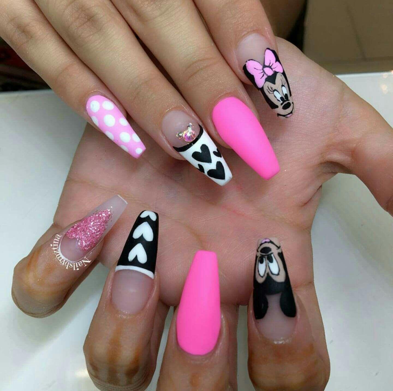 Mickey and Minnie Nails | Nails | Pinterest | Summer nail art, Black ...