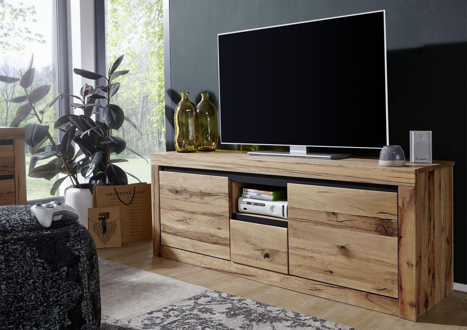 Tv Board Zerreiche 155x45x60 Natur Geölt Montreux 126