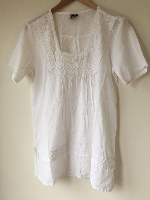 a056157f1a White embroidered top Mini dress Summer Long peasant blouse Lace  embellished fine Thin cotton Boho h