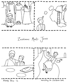 Zacchaeus Meets Jesus Coloring Page Story- sequence