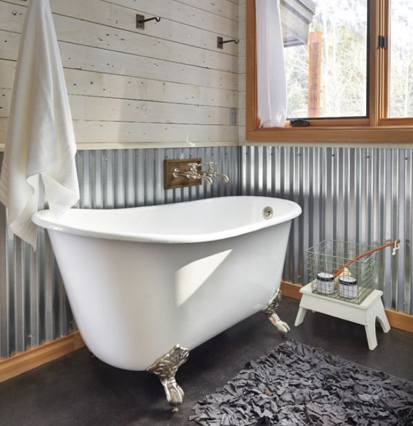 Rustic Industrial Bathroom. Corrugated Metal Walls. Houzz