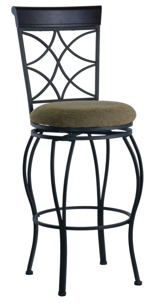 Metal Black Traditional Full Back Armless Bar Stool With Espresso