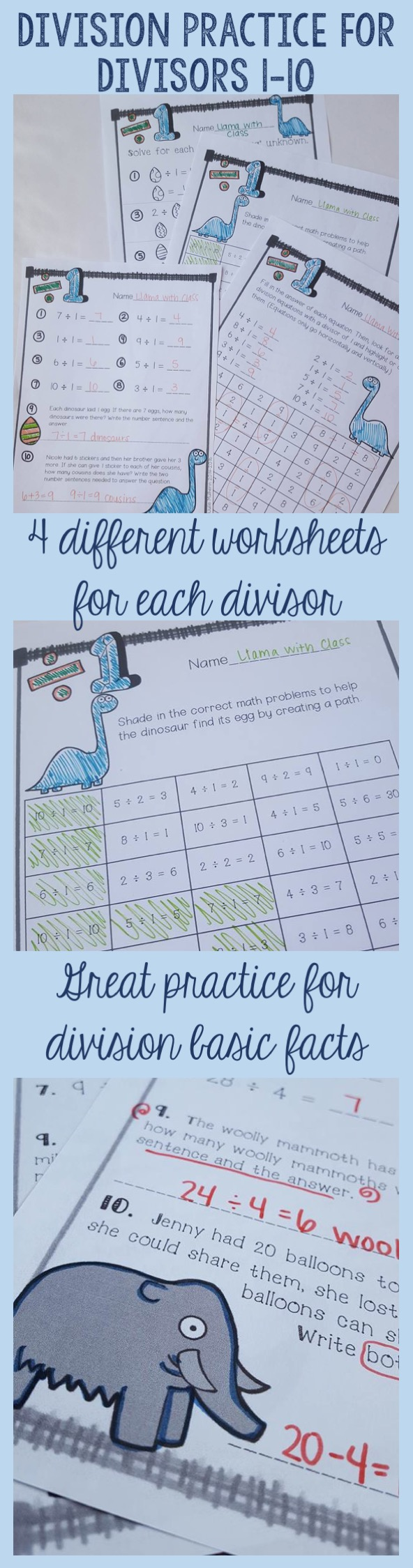 Division Facts Practice For Divisors 1-9 | Division, Worksheets and ...