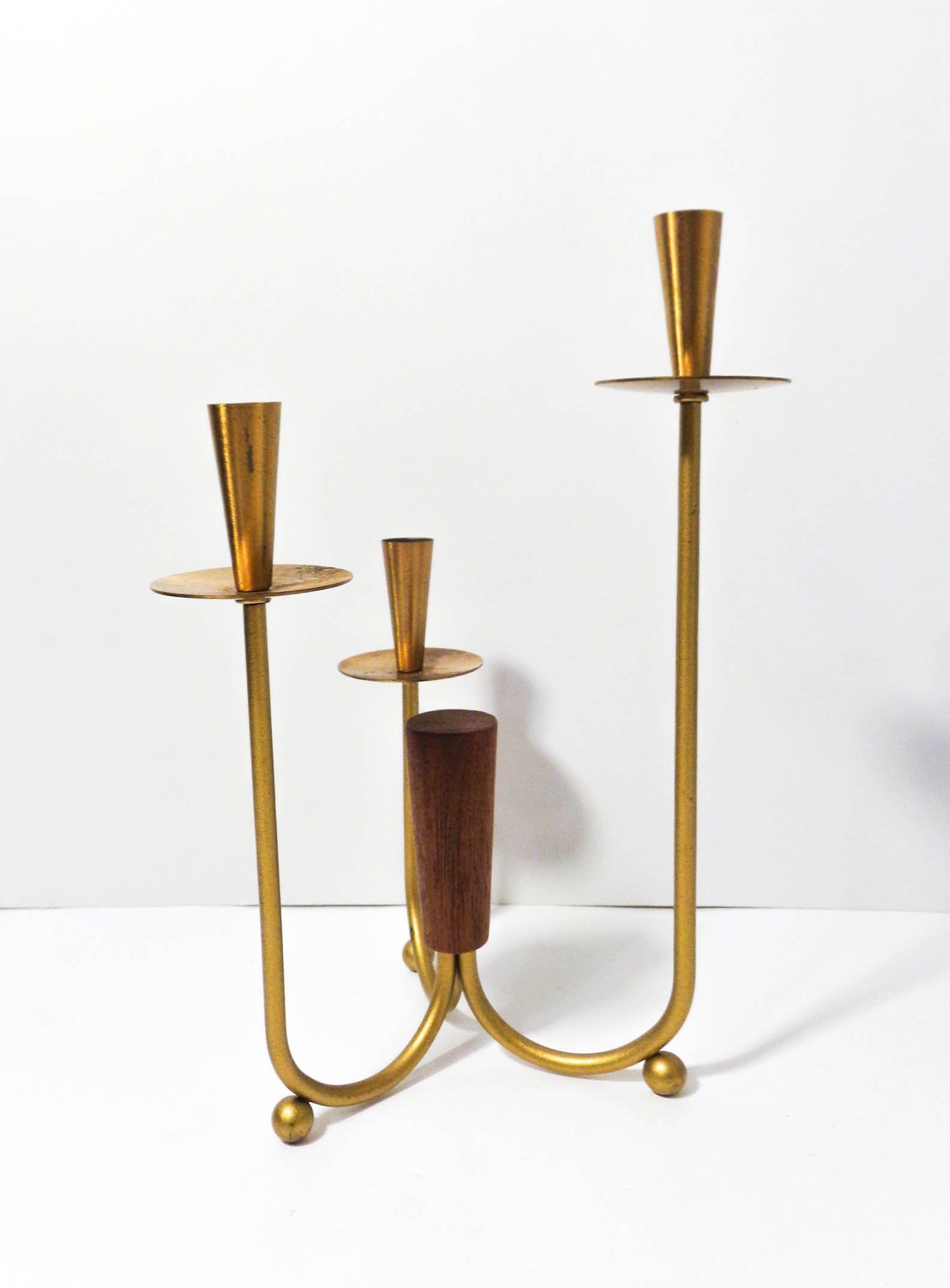 Brass Sleek Scandinavian Candelabra With Teak Sold Candle Holder Decor Mid Century Modern Lighting Vintage Lighting