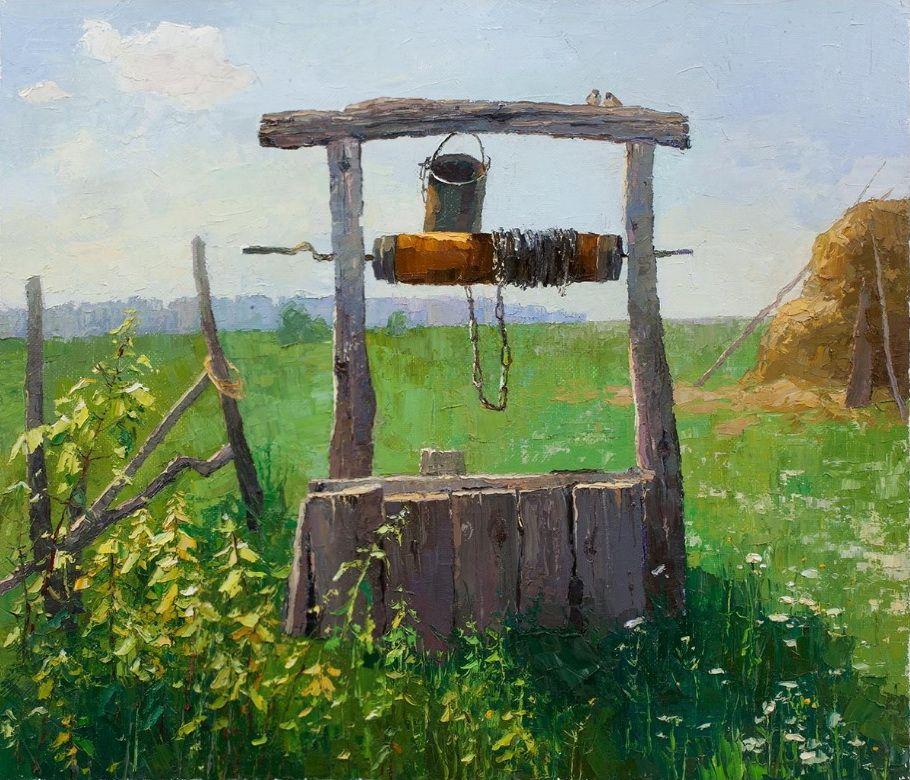 картинка в деревне у колодца высокий журавль полами называются бесшовные