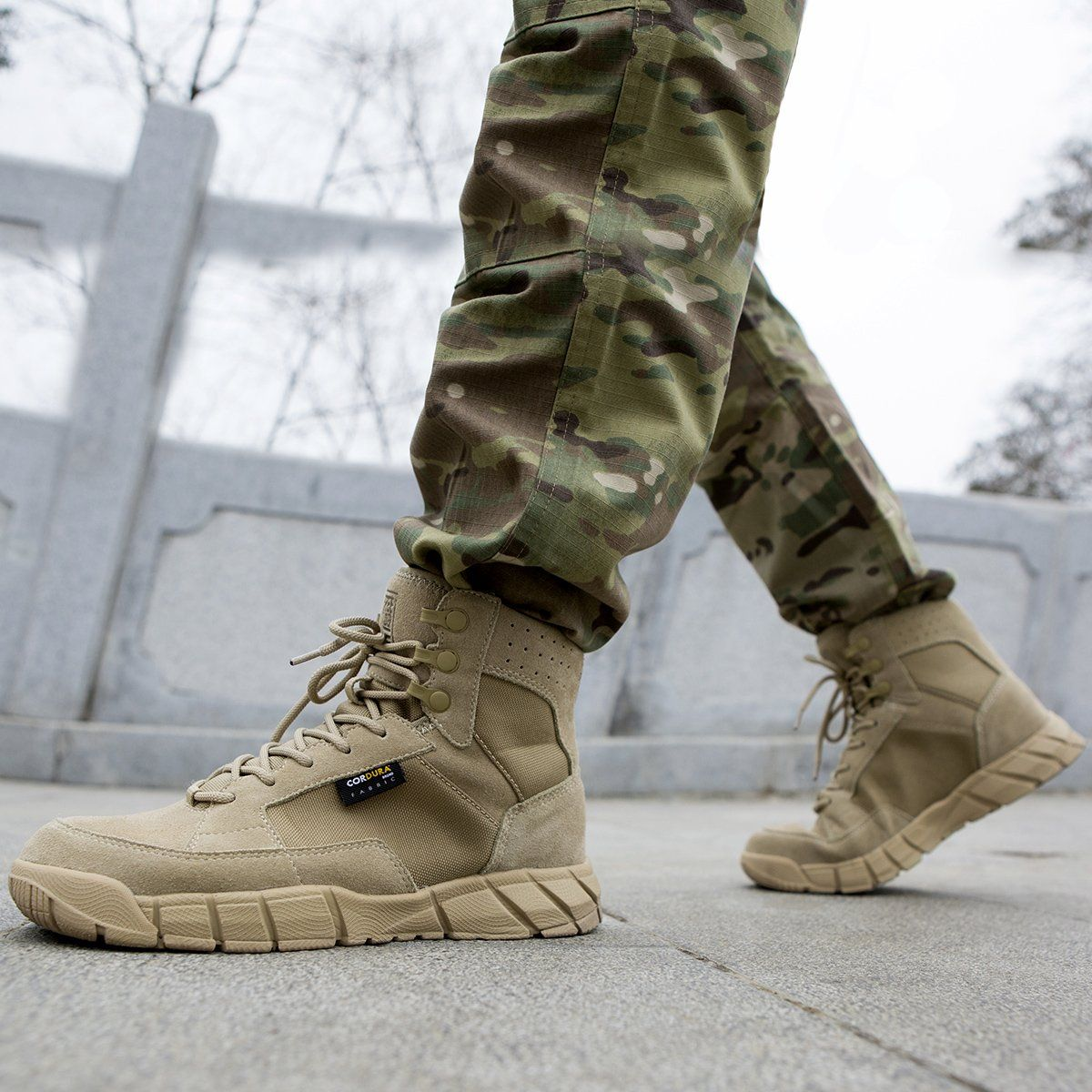 FREE SOLDIER Mens Work Boots 6 inch Lightweight Breathable Military Tactical Desert Boots for Hiking