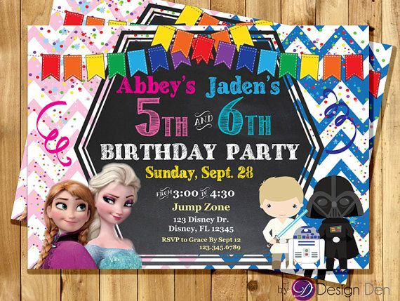 Frozen and galaxy wars joint birthday party by bydesignden on etsy frozen and galaxy wars joint birthday party invitations filmwisefo