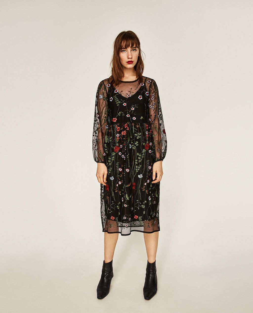 Long Floral Embroidered Dress Dresses Woman Sale Zara United