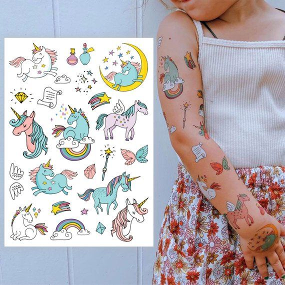 Temporary tattoos Unicorns. Big tattoo set of 9 magic unicorns, rainbow and other. Lovely