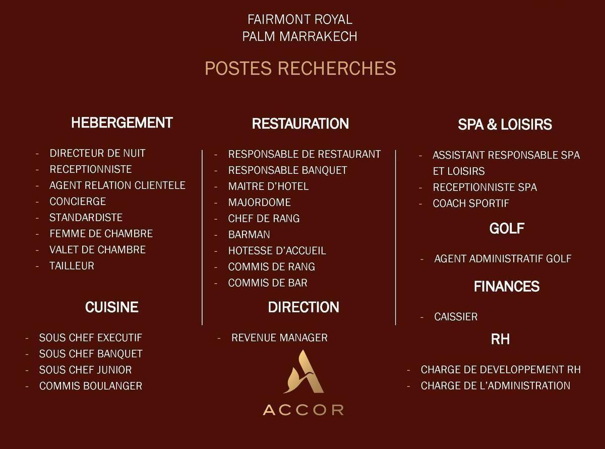 Fairmont Royal Palm Marrakech Recrute Plusieurs Profils Marrakech Hotesse D Accueil Offre Emploi