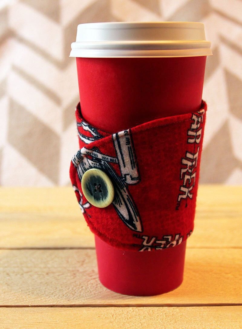 A personal favorite from my Etsy shop https://www.etsy.com/listing/258548570/red-star-trek-beverage-cozy-sleeve-with