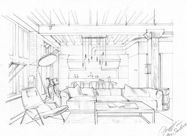 Interior Drawing One Point Perspective Interior