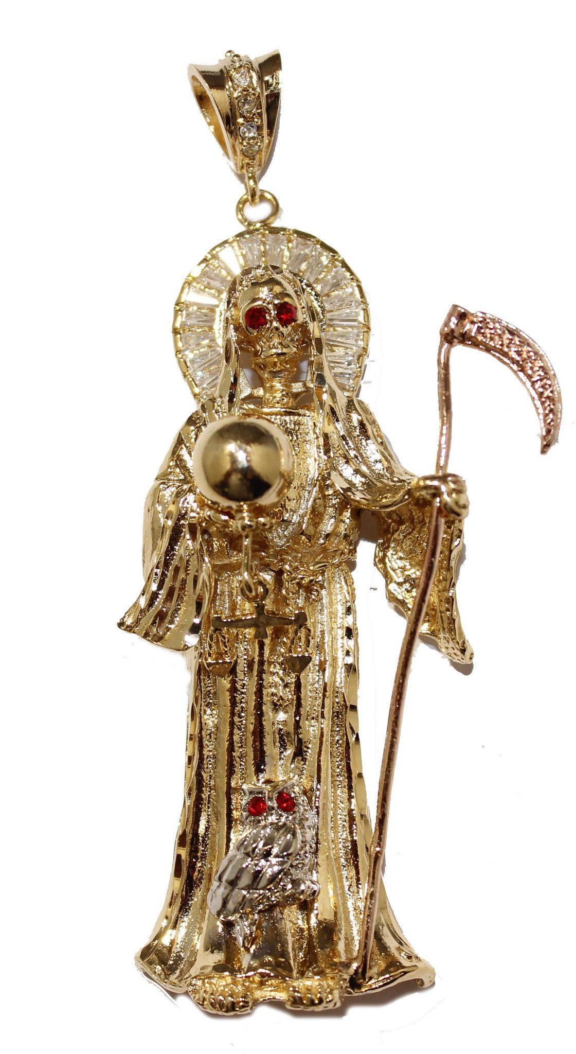 Santa muerte gold plated pendant with cz with 24 inch chain pinterest santa muerte gold plated pendant with cz with 24 inch chain mozeypictures Images