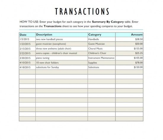 For The Church Musician A Music Program Budget Worksheet