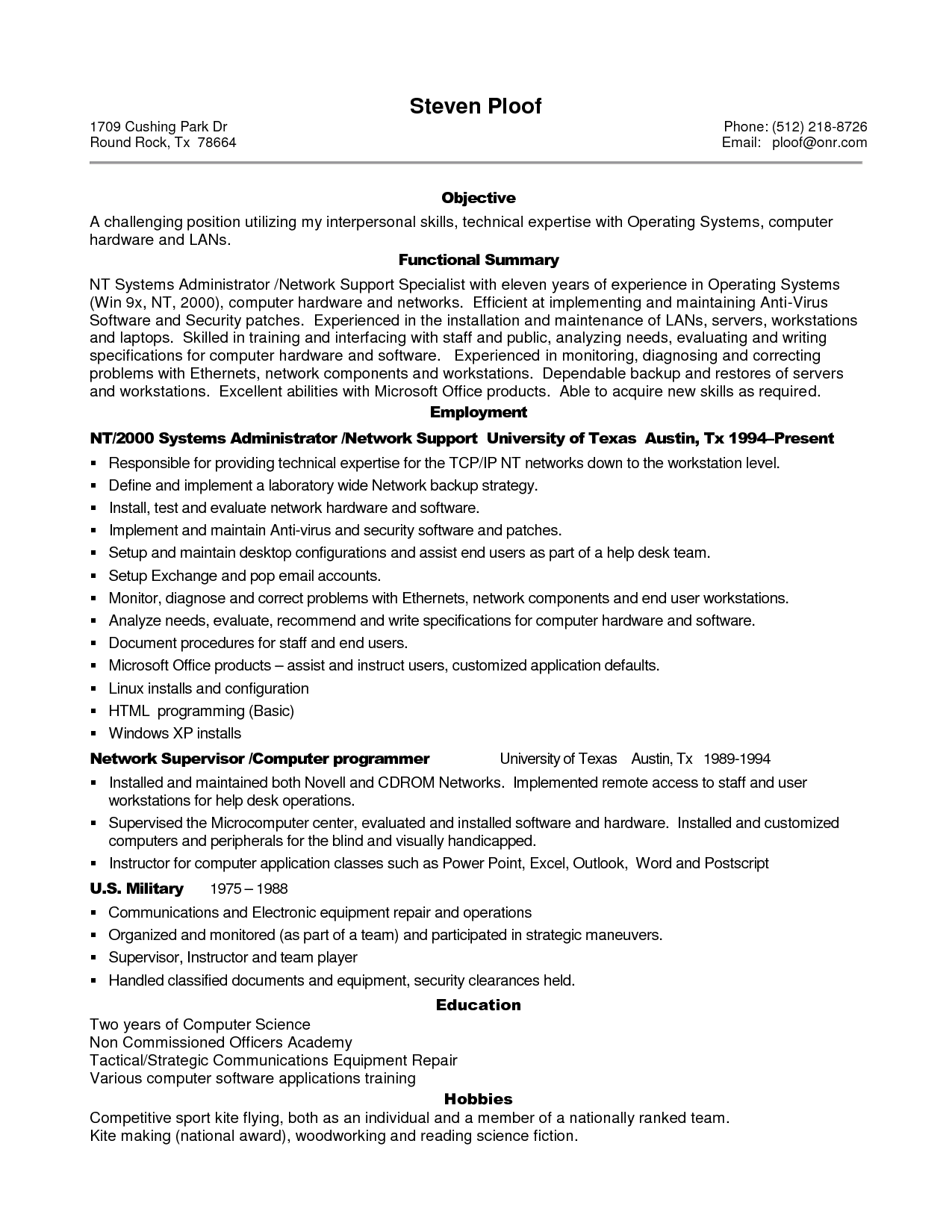Network Support Engineer Sample Resume Sample Resume For Experienced It Professional Sample Resume For