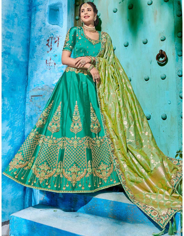 5030acd17 Rama Green Designer Lehenga Choli with Silk Dupatta