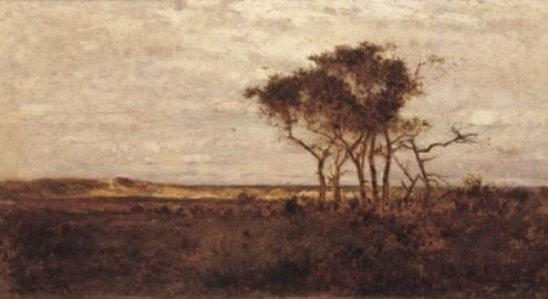 """""""Nonquit Marshes,"""" R. Swain Gifford, 1877, oil on panel, 10 x 18"""", private collection."""