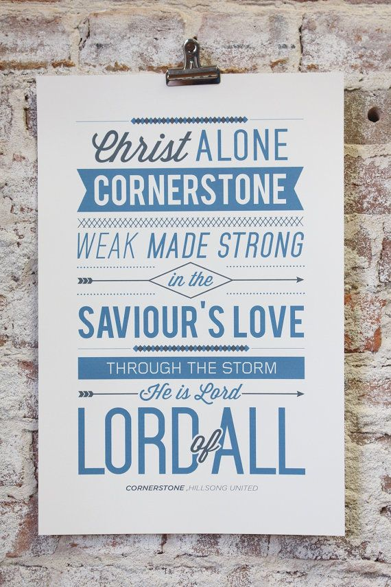 Vintage typography poster print cornerstone by hillsong united vintage typography poster print cornerstone by hillsong united worship song stopboris Images