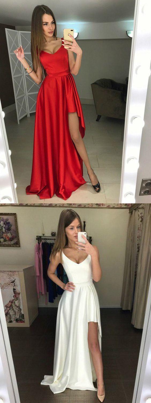 Sexy a line v neck long redwhite satin promevening dress with slit