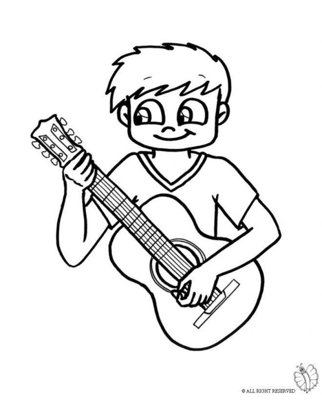 Disegno bambino con chitarra disegni da colorare e for Neonati da colorare e stampare