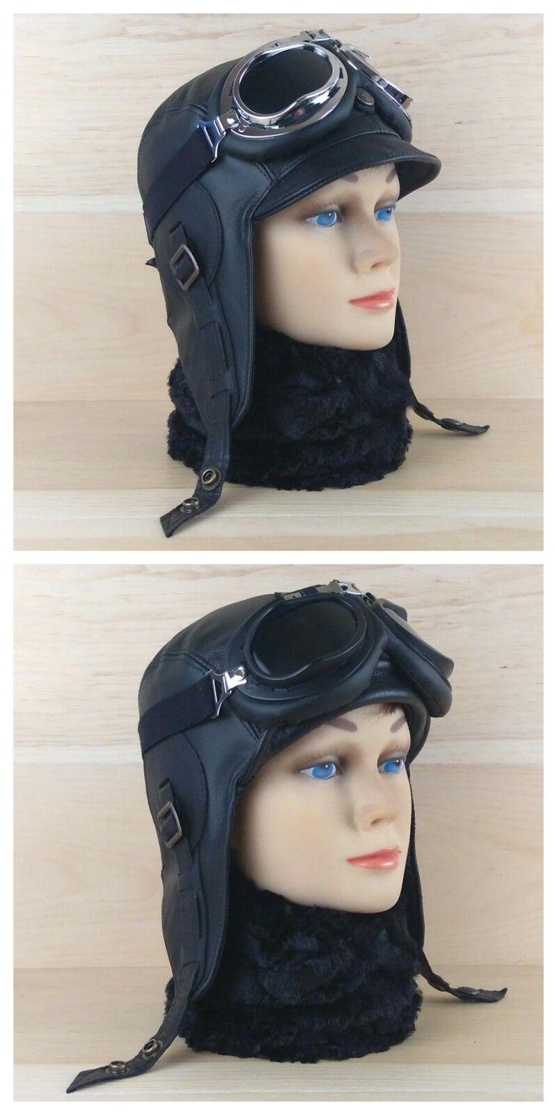 Pilot Style Motorcycle Helmet : pilot, style, motorcycle, helmet, 服装, Aviator, Black, Leather,