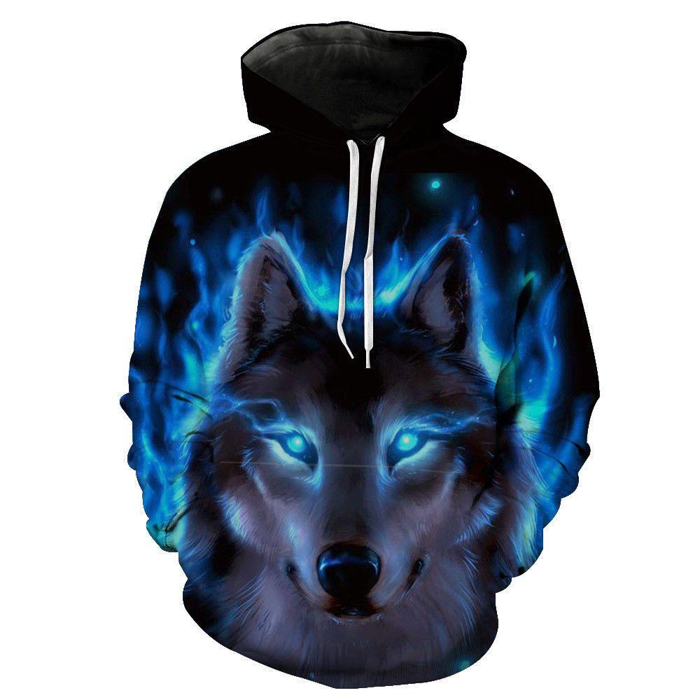92d959a16bb9c4 3D Wolf Hoodie Galaxy Wolf Graphics Sweatshirt Jacket Pullover Men Women  Hoodie