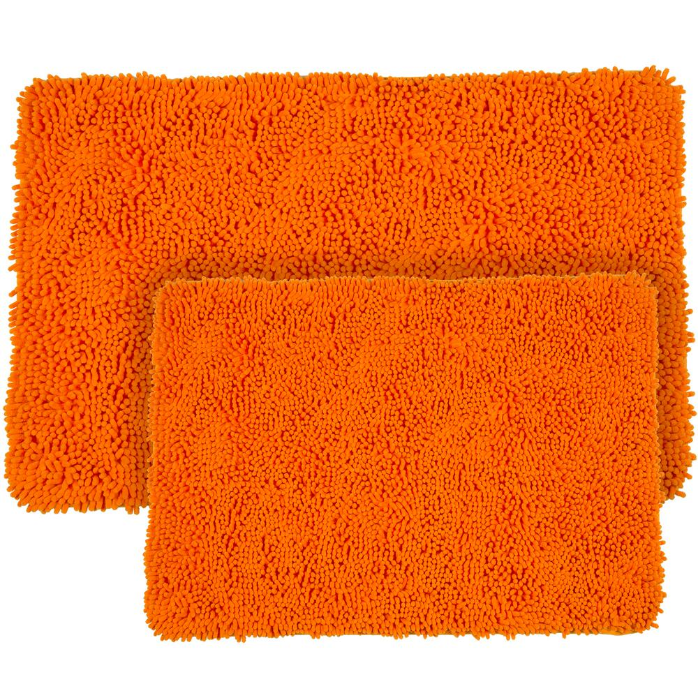 Lavish Home Shag Orange 21 In X 32 In Memory Foam 2 Piece Bath