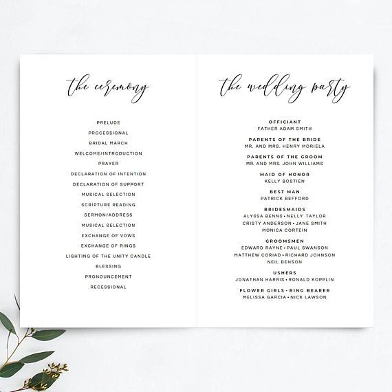 wedding program booklet template printable rustic wedding ceremony