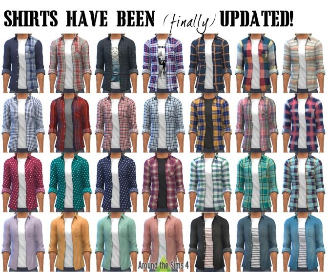 Open Shirts With Buttons Updated At Around The Sims 4 Sims 4 Updates Sims 4 Sims Sims 4 Custom Content