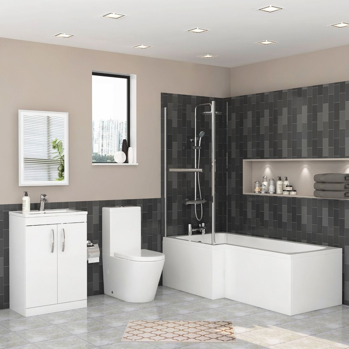 1700 X 850mm Left Hand L Shaped Shower Bath With Screen Front