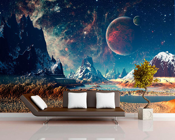 Sci-fi home mural for living room, Planet landscape wallpapers mural