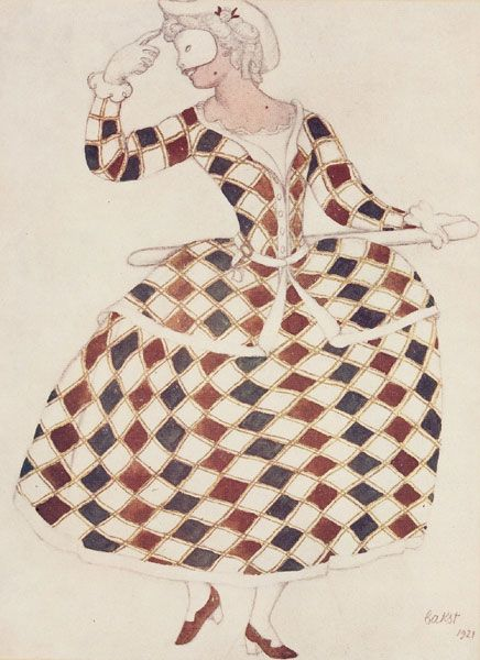 Design for the costume of Colombine in the ballet The Sleeping Princesse by Leon Bakst, 1921, Victoria and Albert Museum