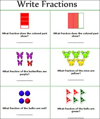 fractions worksheets, Free Printable primary school write fractions ...