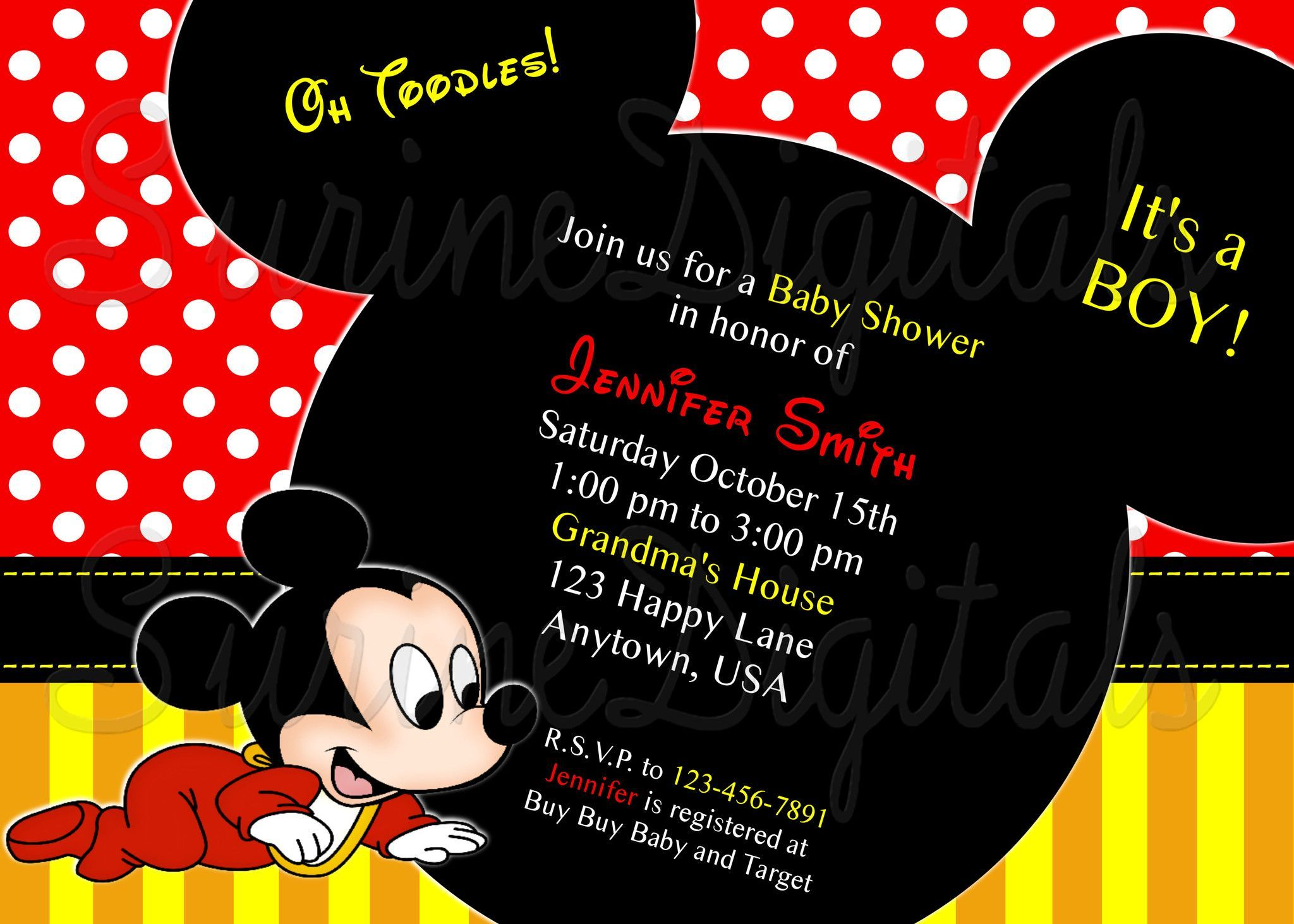 Funky Disney Baby Shower Invites Motif - Invitations and ...