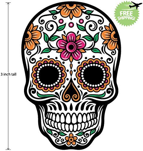 3 inch mexican sugar skull phone sticker version 47 día de los muertos day of the dead sticker decal 3 inch tall special promotions free sticker