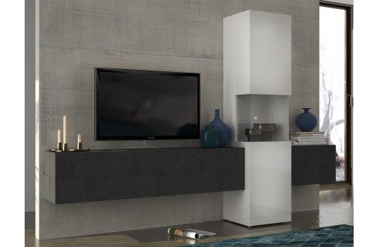 Meuble TV mural design gris Serena Tv walls, Tv units and Walls