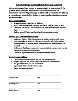 Agreement for the tutor, parent, and student to sign before ...