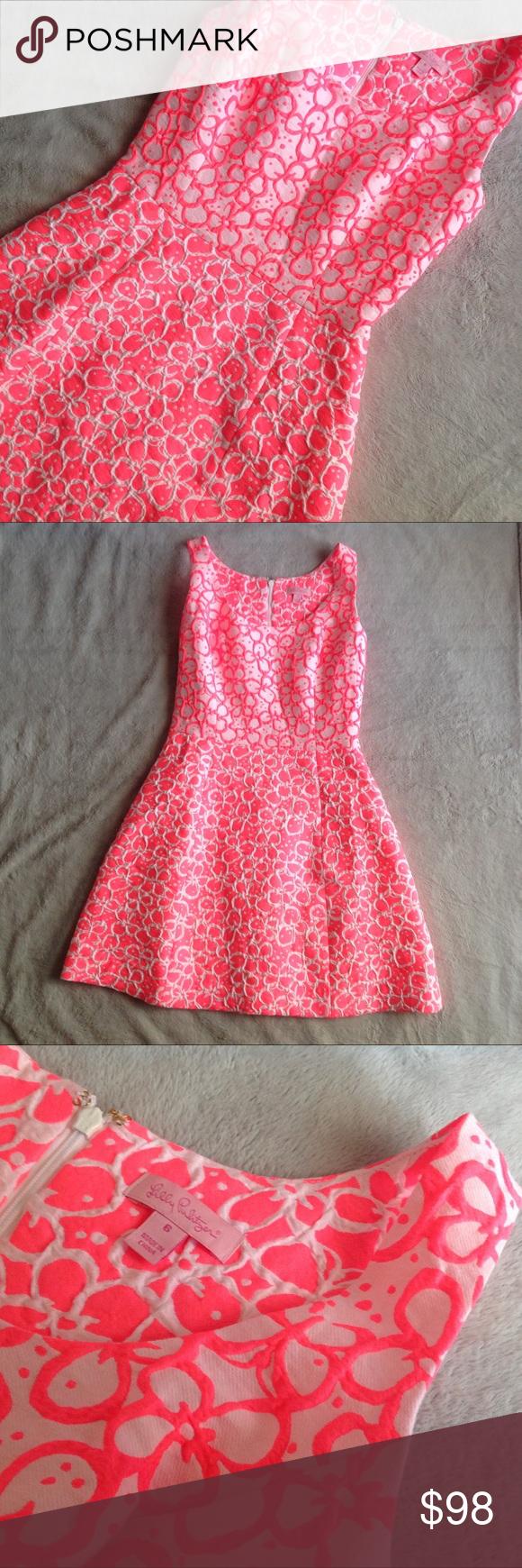 Lilly Pulitzer Joslin Dress Fiesta Pink Jacquard