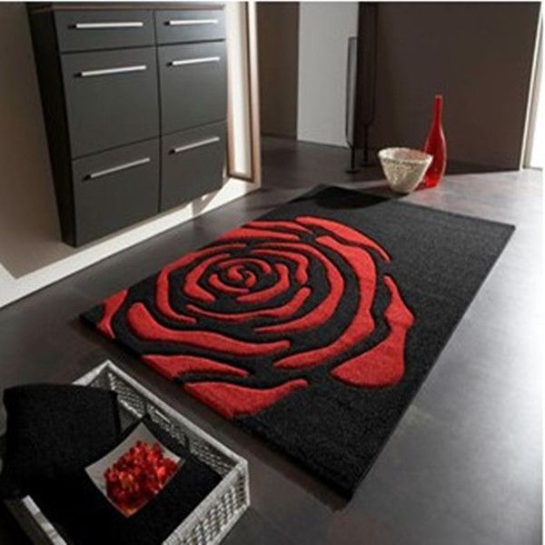 Free shipping Fashion livingroom / bedroom / bathroom / hallway carpet anti-skid water sucktion carpets black and red rose mats