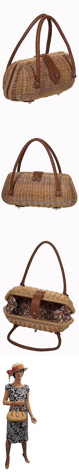 Bags Handbags and Cases 74962: Retro Ladies 1940 S 1950 S Style Brown Rattan Wicker Handbag Box Bag -> BUY IT NOW ONLY: $29.95 on eBay!