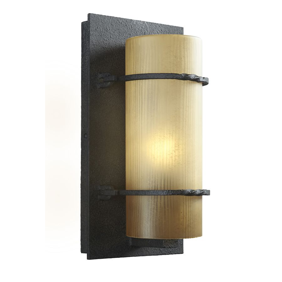 Portfolio Medium Wall 12.5-in H Textured Bronze Outdoor Wall Light ...