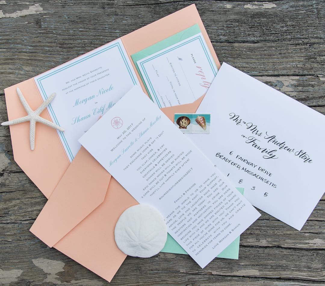 C And Mint Custom Pocket Fold Beach Wedding Invitation New England North Of Boston